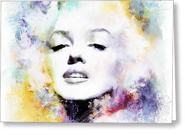 Urban Art Mixed Media Greeting Cards - Marilyn American Beauty Greeting Card by Shanina Conway