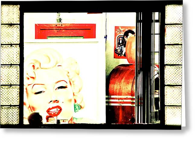 Drive In Style Greeting Cards - Marilyn at the Diner Greeting Card by Ellen and Udo Klinkel