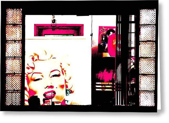 Drive In Style Greeting Cards - Marilyn at the Diner - Pink Greeting Card by Ellen and Udo Klinkel