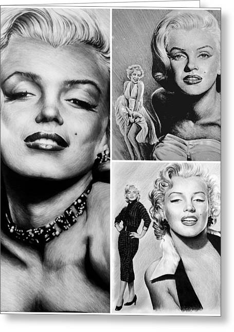 1950s Portraits Greeting Cards - Marilyn collage Greeting Card by Andrew Read