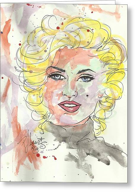 Movie Star Drawings Greeting Cards - Marilyn colors Greeting Card by P J Lewis