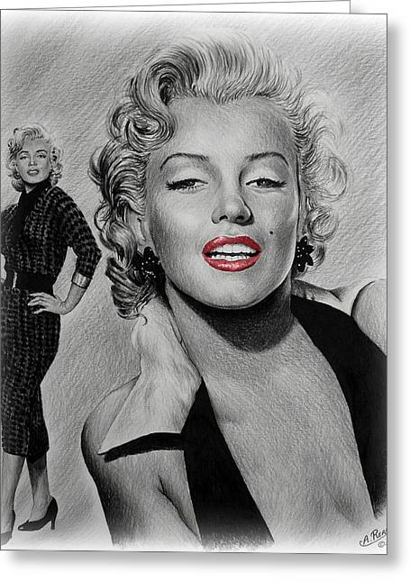 1950s Portraits Greeting Cards - Marilyn Hot Lips version Greeting Card by Andrew Read