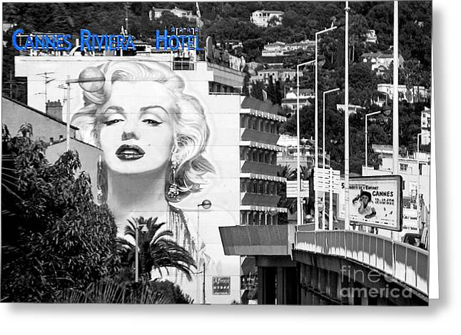 Norma Jean Greeting Cards - Marilyn in Cannes Greeting Card by Jennie Breeze