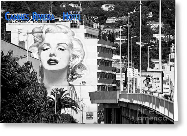 Norma Jean Photographs Greeting Cards - Marilyn in Cannes Greeting Card by Jennie Breeze