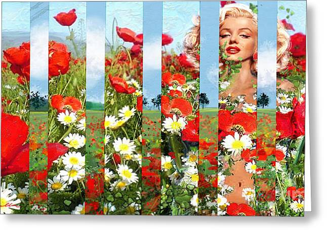 Marilin Greeting Cards - Marilyn in poppies 1 Greeting Card by Theo Danella
