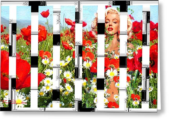 Marilin Greeting Cards - Marilyn in poppies 2  Greeting Card by Theo Danella