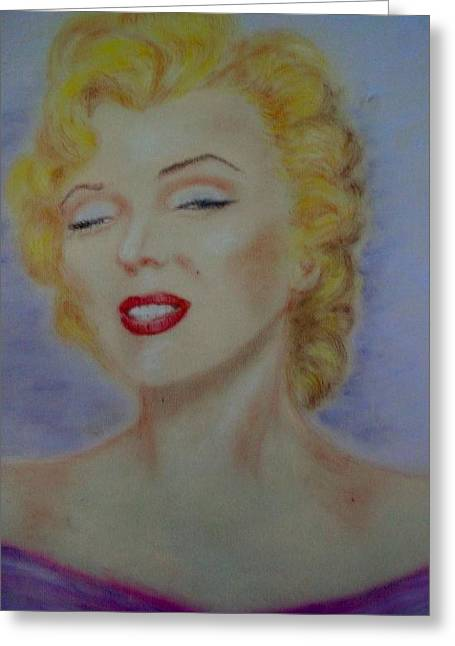 Los Angeles Pastels Greeting Cards - Marilyn in Purple Dress Greeting Card by Marjudy Royo