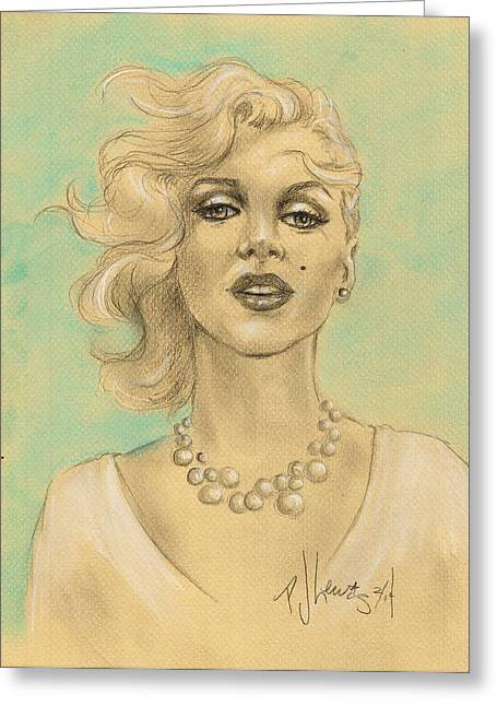 Marilyn In White Greeting Card by P J Lewis