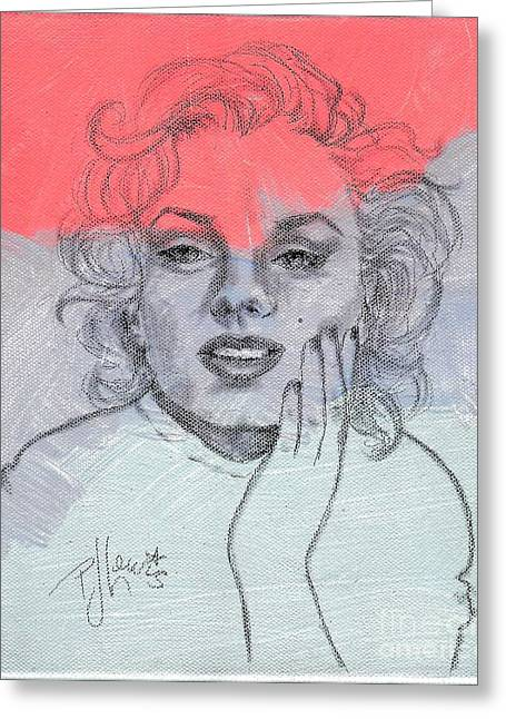 Face Of A Woman Greeting Cards - Marilyn loved color Greeting Card by P J Lewis