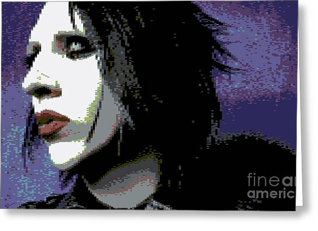 8 Bit Greeting Cards - Marilyn Manson Greeting Card by Kyle Walker