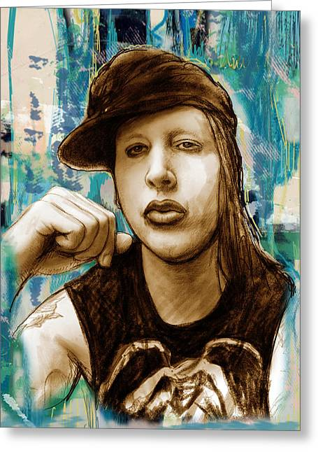 Journalist Greeting Cards - Marilyn Manson stylised pop art drawing potrait poser stylised pop art drawing potrait poser Greeting Card by Kim Wang