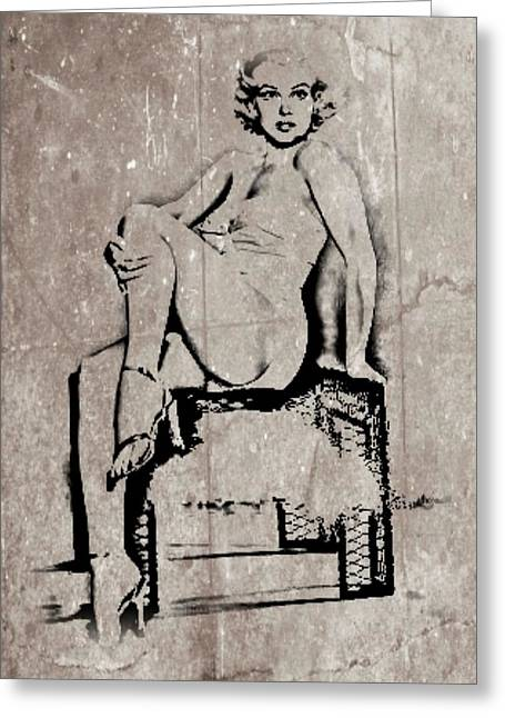 Nude Marilyn Monroe Greeting Cards - Marilyn Monroe - Graffiti Greeting Card by Lauranns Etab
