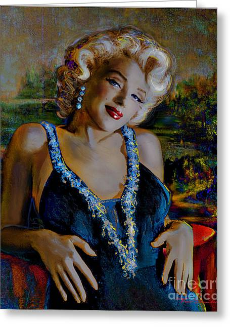 Marilin Greeting Cards - Marilyn Monroe 126 Monalisa Greeting Card by Theo Danella
