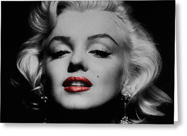 Red And White Greeting Cards - Marilyn Monroe 3 Greeting Card by Andrew Fare