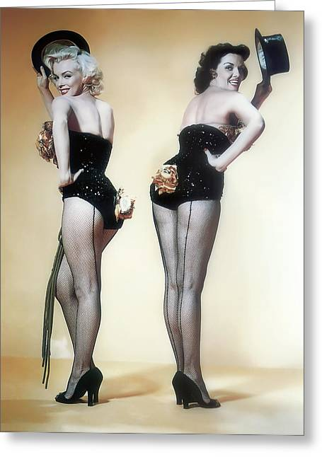 Playboy Bunny Greeting Cards - MARILYN MONROE and JANE RUSSELL Greeting Card by Daniel Hagerman