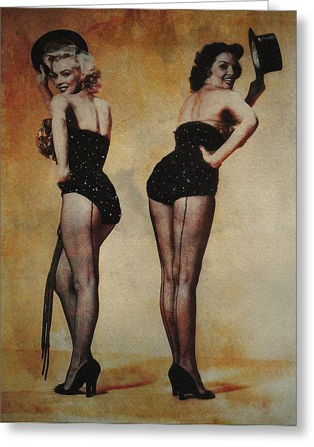 Norma Jean Greeting Cards - Marilyn Monroe and Jane Russell Greeting Card by EricaMaxine  Price