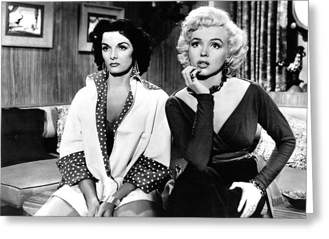 1950s Portraits Greeting Cards - Marilyn Monroe and Jane Russell in Gentlemen Prefer Blondes Greeting Card by Nomad Art And  Design