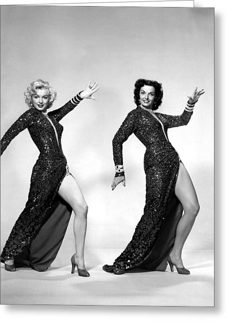 Little Black Dress Greeting Cards - Marilyn Monroe and Jane Russell Greeting Card by Nomad Art And  Design