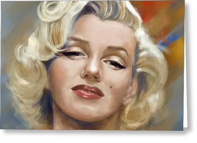 Norma Jean Baker Greeting Cards - Marilyn Monroe Greeting Card by Arie Van der Wijst