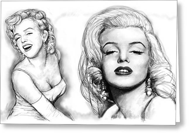 1950s Music Greeting Cards - Marilyn Monroe art long drawing sketch poster Greeting Card by Kim Wang