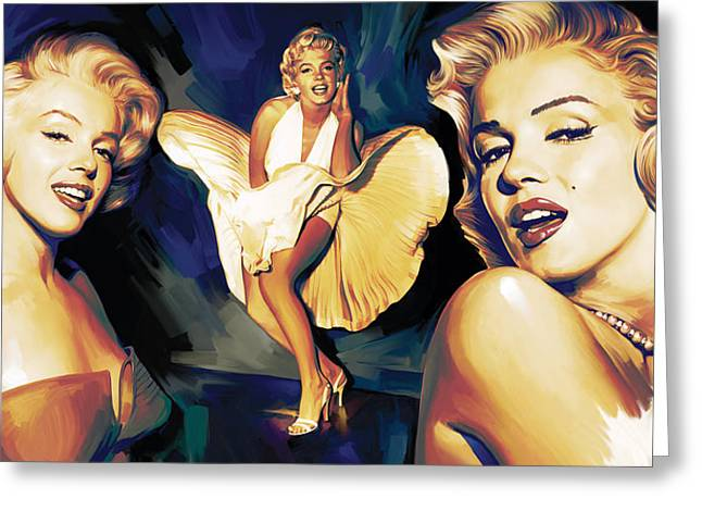 Marilyn Greeting Cards - Marilyn Monroe Artwork 3 Greeting Card by Sheraz A
