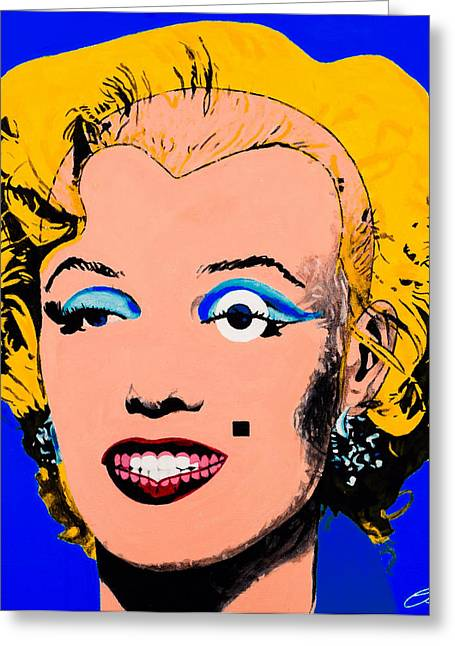 Starlet Paintings Greeting Cards - Marilyn Monroe Blue Greeting Card by Joe Ciccarone
