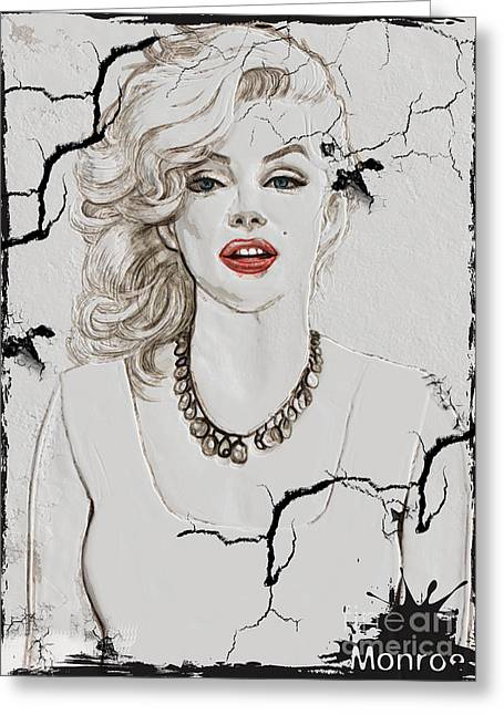 Grunge Reliefs Greeting Cards - Marilyn Monroe Broken Wall Greeting Card by Creativehelper