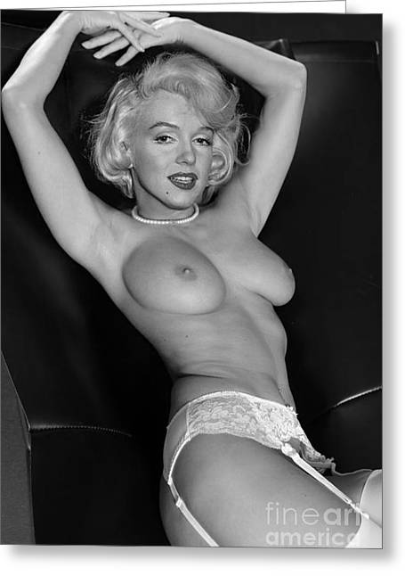 Nude Fantasy Greeting Cards - Marilyn Monroe Fantassy nude Greeting Card by Jorge Fernandez