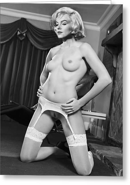 Nude Monroe Greeting Cards - Marilyn Monroe Fantasy nude 2 Greeting Card by Jorge Fernandez