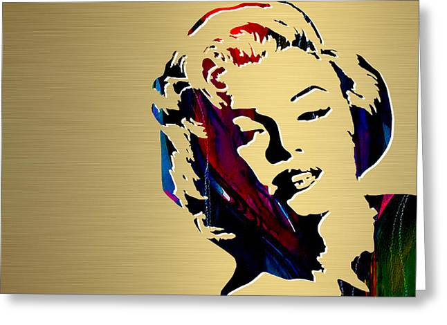 Monroe Greeting Cards - Marilyn Monroe Gold Series Greeting Card by Marvin Blaine