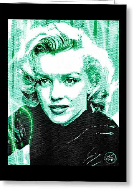 1950s Movies Greeting Cards - Marilyn Monroe - Green Greeting Card by Absinthe Art By Michelle LeAnn Scott
