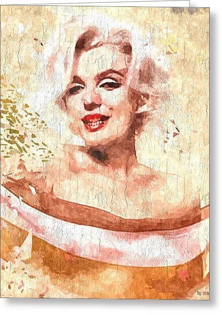 Nude Marilyn Monroe Greeting Cards - Marilyn Monroe Grunge Greeting Card by Daniel Janda
