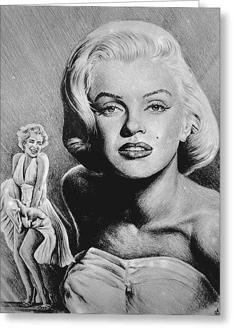 1950s Portraits Paintings Greeting Cards - Marilyn Monroe Hollywood greats Greeting Card by Andrew Read