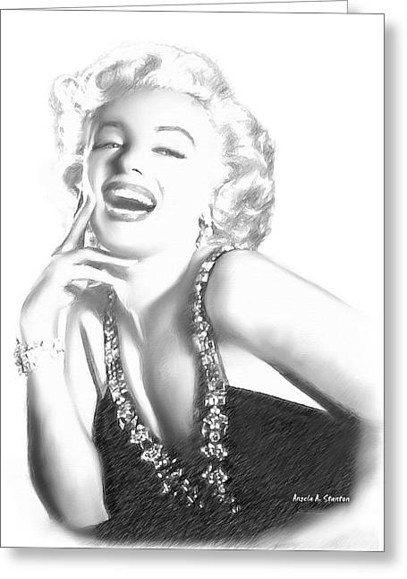 Super Stars Greeting Cards - Marilyn Monroe - in Memory Greeting Card by Angela A Stanton
