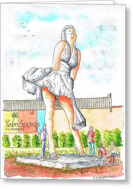 Architecrure Greeting Cards - Marilyn Monroe in Palm Springs - California Greeting Card by Carlos G Groppa