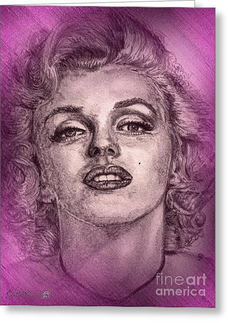 Jem Fine Arts Mixed Media Greeting Cards - Marilyn Monroe in Pink Greeting Card by J McCombie
