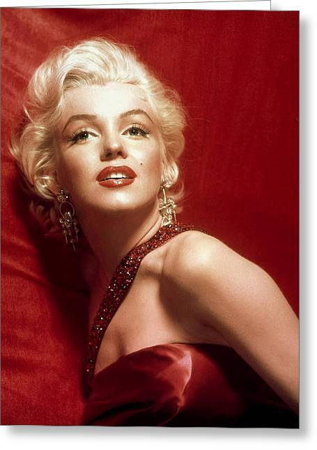 1950s Portraits Greeting Cards - Marilyn Monroe in Red Greeting Card by Nomad Art And  Design