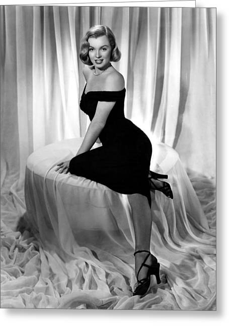 Little Black Dress Greeting Cards - Marilyn Monroe in The Asphalt Jungle Greeting Card by Nomad Art And  Design