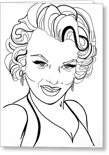 Woman Greeting Cards - Marilyn Monroe Line  Drawing Greeting Card by Linda Simon