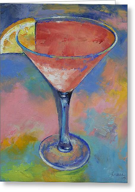 Las Vegas Artist Greeting Cards - Marilyn Monroe Martini Greeting Card by Michael Creese