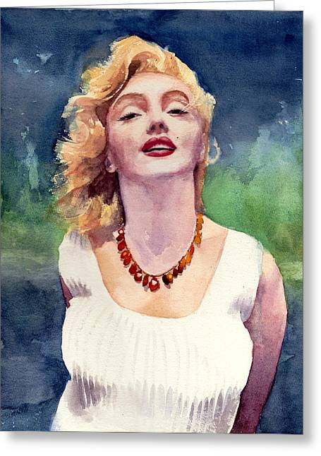 Fame Drawings Greeting Cards - Marilyn Monroe Greeting Card by Max Good