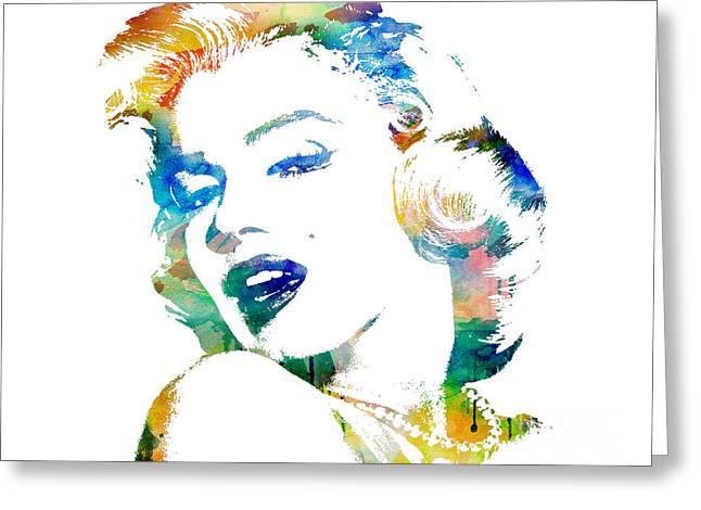 Blue Art Greeting Cards - Marilyn Monroe Greeting Card by Mike Maher