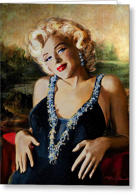 Marilin Greeting Cards - Marilyn Monroe  Mona Lisa  Greeting Card by Theo Danella