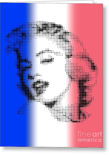 Marilyn Monroe On Flag Of France Greeting Card by Rodolfo Vicente