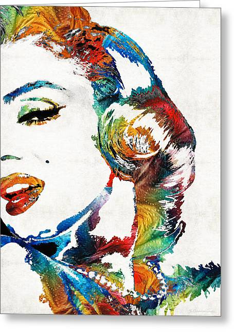 Singer Paintings Greeting Cards - Marilyn Monroe Painting - Bombshell - By Sharon Cummings Greeting Card by Sharon Cummings