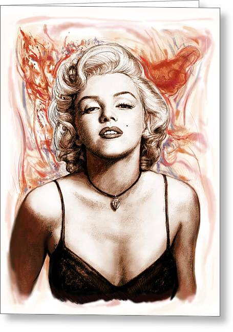 1950s Music Greeting Cards - Marilyn monroe pop art drawing sketch portrait Greeting Card by Kim Wang