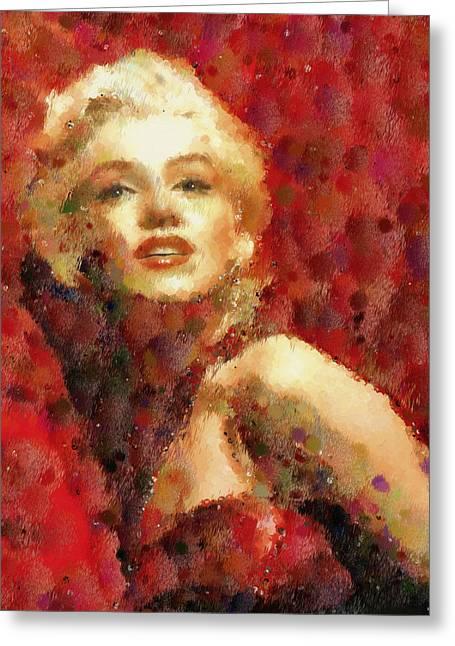 Movie Greeting Cards - Marilyn Monroe Pop Art Portrait Greeting Card by Georgiana Romanovna