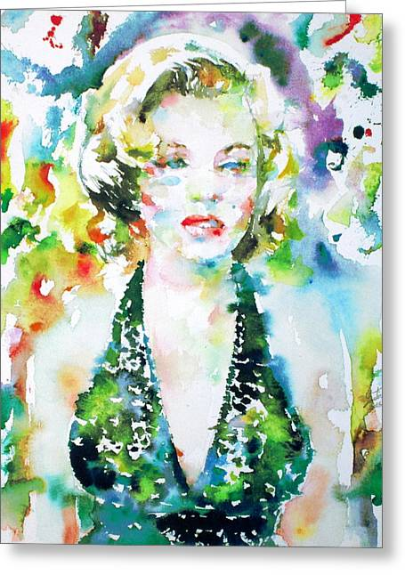 Norma Jeane Greeting Cards - Marilyn Monroe Portrait.1 Greeting Card by Fabrizio Cassetta
