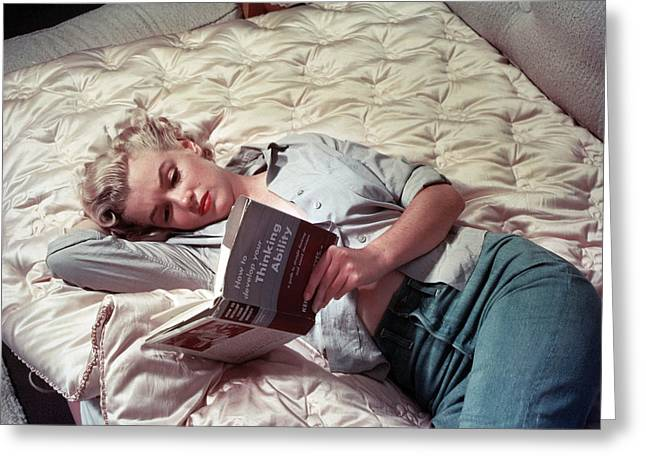 1950s Portraits Greeting Cards - Marilyn Monroe Reading Greeting Card by Nomad Art And  Design