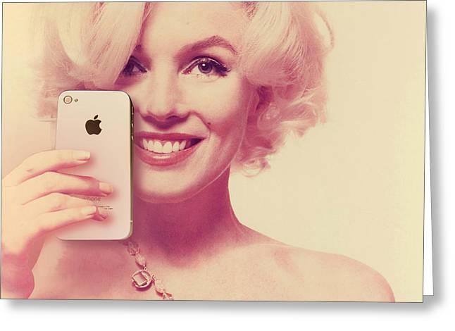 1960 Mixed Media Greeting Cards - Marilyn Monroe Selfie 2 Greeting Card by Tony Rubino